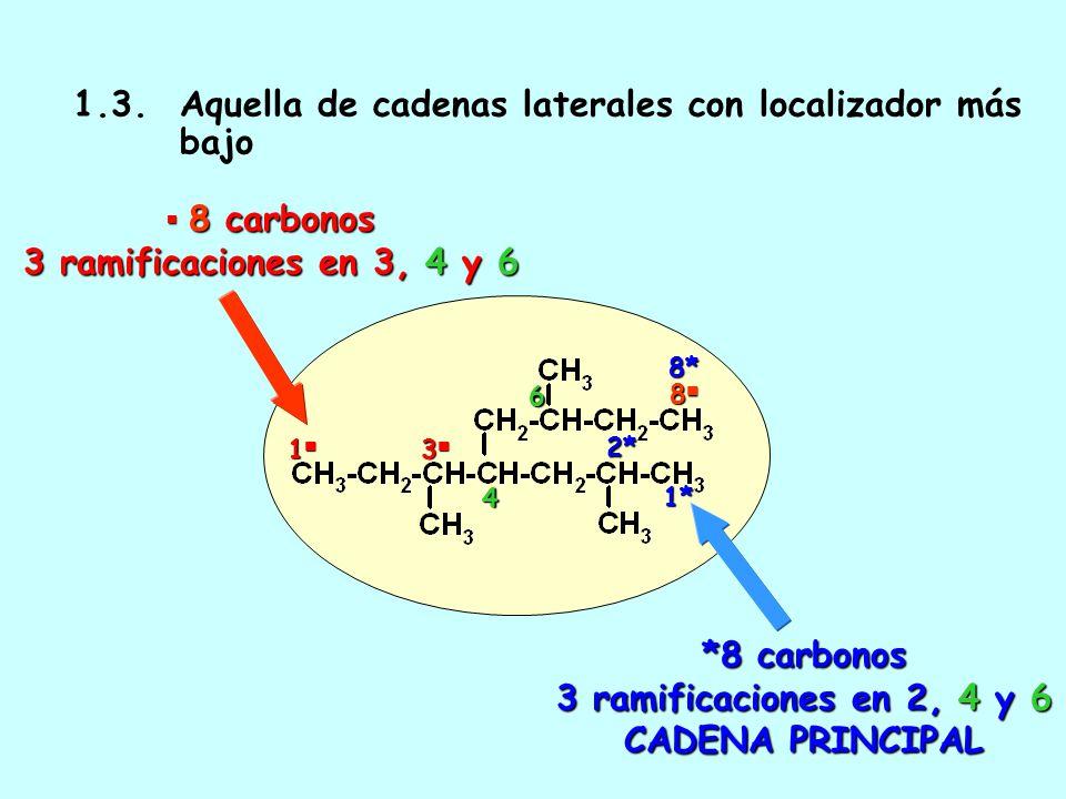 1.2. Aquella de mayor número de cadenas laterales 2 cadenas laterales 2 cadenas laterales 1 8 *3 cadenas laterales: CADENA PRINCIPAL 8*1*