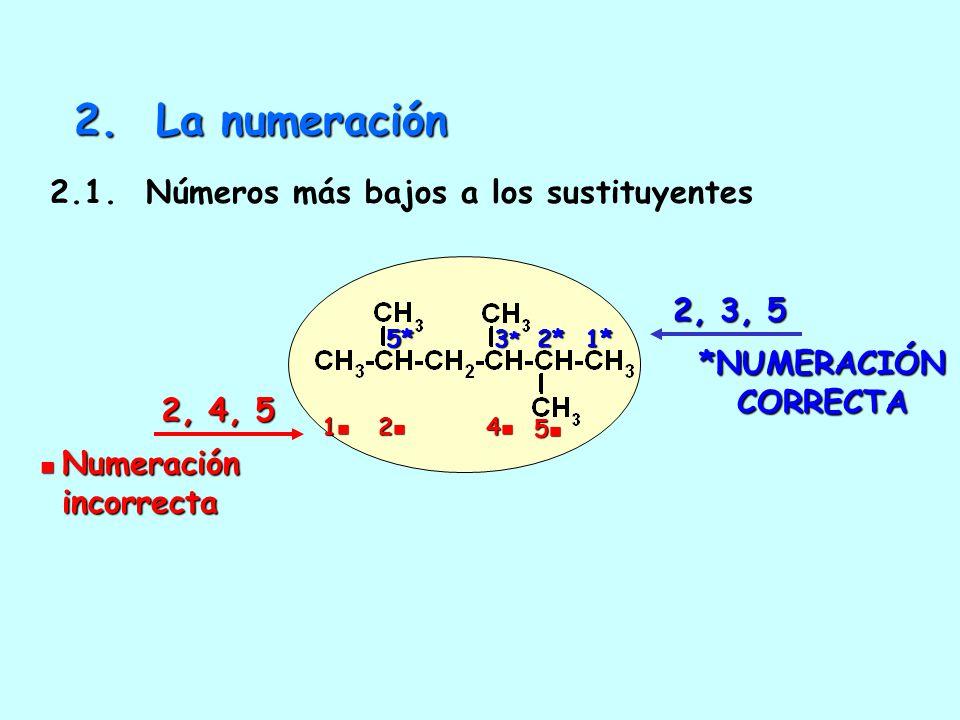 1.4. Aquella de más carbonos en la cadena lateral más pequeña 1.5. Aquella de cadenas laterales menos ramificadas 9 carbonos 6 cadenas laterales posic