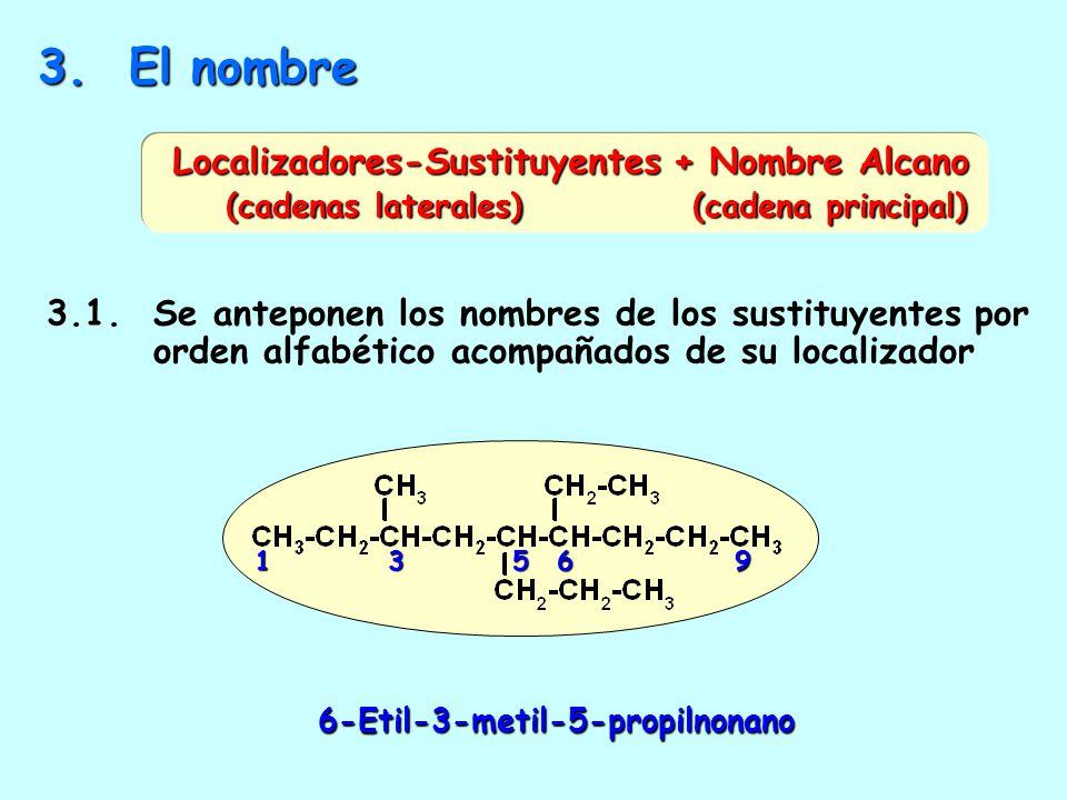 2.2. Números más bajos a los sustituyentes por orden alfabético 4-etil-7-metil *E antes que M NUMERACIÓN CORRECTA 4*1*7* 4-metil-7-etil 7 4 1 Numeraci