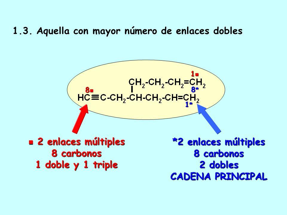 1.2. Aquella de mayor longitud 2 enlaces múltiples 7 carbonos 2 enlaces múltiples 7 carbonos 1 7 *2 enlaces múltiples 8 carbonos CADENA PRINCIPAL 1*1*