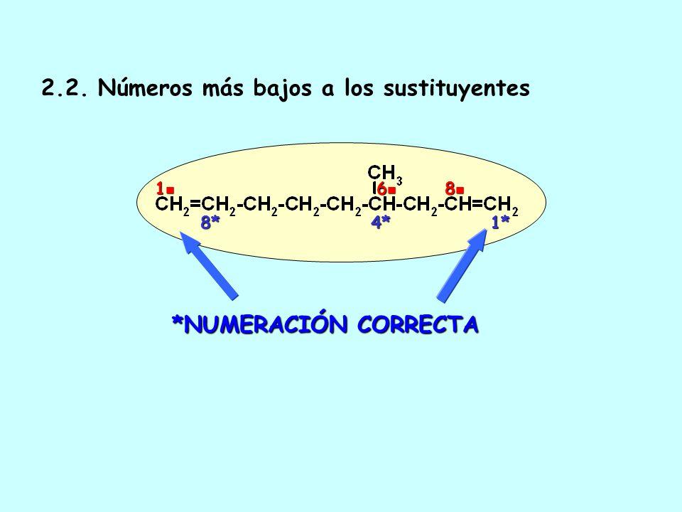 2. Numeración 2.1. Números más bajos a los enlaces múltiples. En caso de igualdad los enlaces dobles tienen preferencia. *NUMERACIÓN CORRECTA 1*6* 1 6
