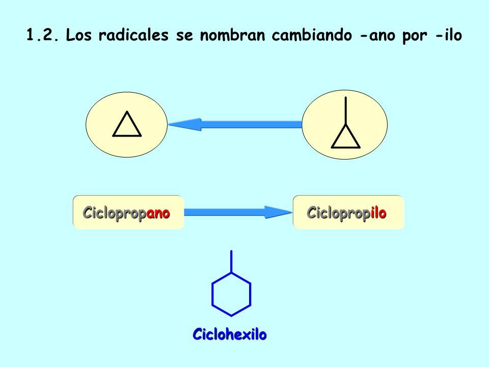 1.1. Se antepone el prefijo ciclo- al nombre del alcano de igual número de carbonos Cicloalcano Ciclohexano Ciclooctano Ciclopropano Propano Propano