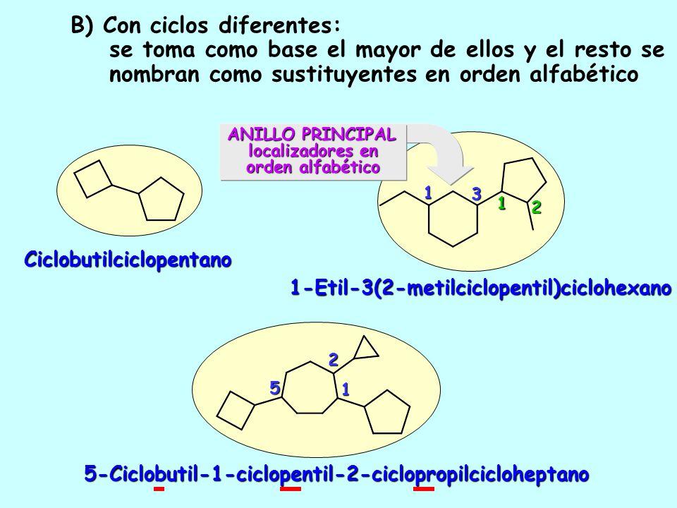 1.5.-Algunos ejemplos de cicloalcanos unidos por enlace C-C 11 1 1 1,1-Biciclohexilo1,1-BiciclohexanoBiciclohexano 1,2-Dimetil-1,1-biciclobutilo1,2-Di