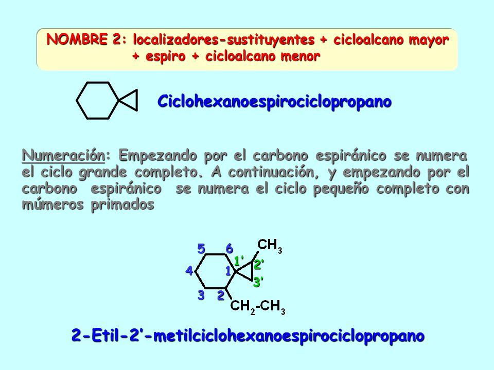 2. ESPIRANOS: Dos ciclos que tienen sólo un carbono común 4-Etil-1-metilespiro [2.5] octano NOMBRE 1: localizadores-sustituyentes + espiro [. ] alcano