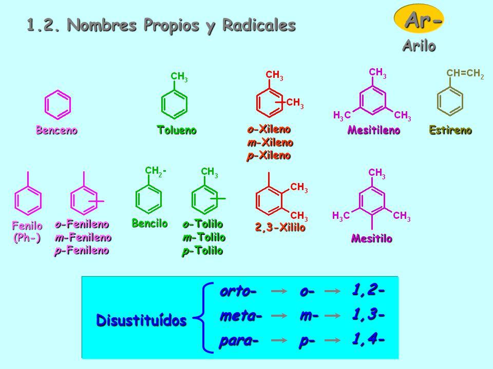 1.1. MONONUCLEARES Vinilbenceno 2-Etil-1-metil-4-propilbenceno Nombre: localizadores + sustituyentes + benceno Monosustituídos No necesita localizador