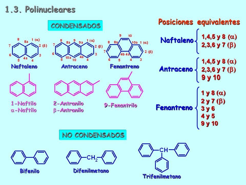 BencenoTolueno o-Xileno m-Xileno p-Xileno MesitilenoEstireno o-Fenileno m-Fenileno p-Fenileno Bencilo o-Tolilo m-Tolilo p-Tolilo 2,3-Xililo Mesitilo 1