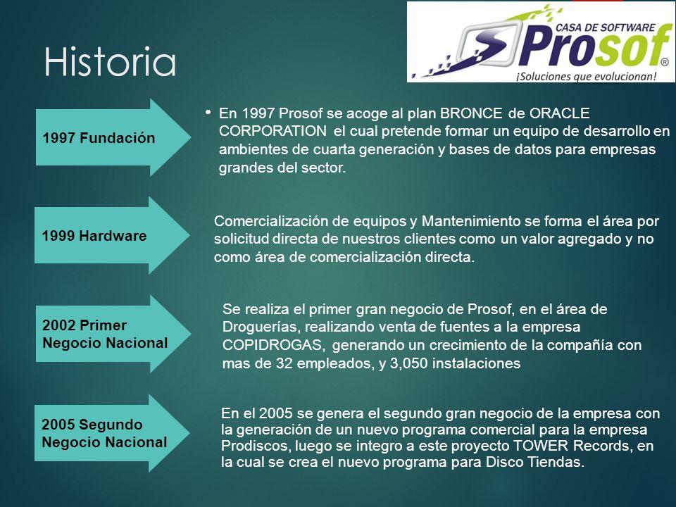 Historia En 1997 Prosof se acoge al plan BRONCE de ORACLE CORPORATION el cual pretende formar un equipo de desarrollo en ambientes de cuarta generació