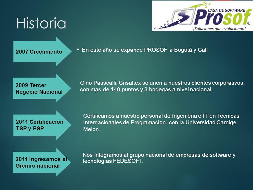 Historia En este año se expande PROSOF a Bogotà y Cali 2007 Crecimiento Gino Passcalli, Crisaltex se unen a nuestros clientes corporativos, con mas de