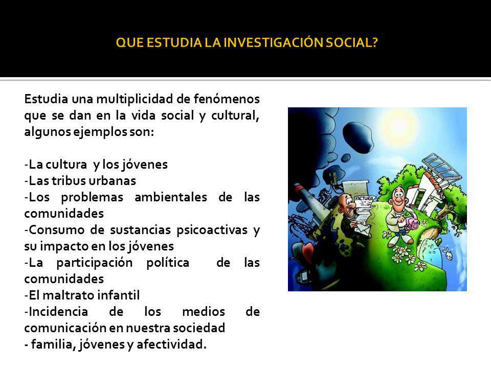 Estudia una multiplicidad de fenómenos que se dan en la vida social y cultural, algunos ejemplos son: -La cultura y los jóvenes -Las tribus urbanas -L