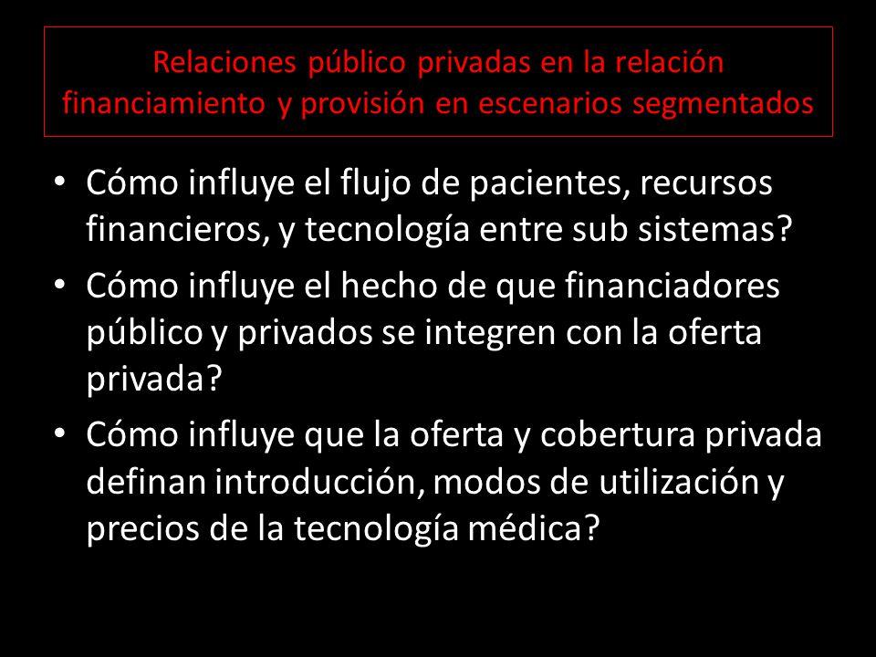 Relaciones público privadas en la relación financiamiento y provisión en escenarios segmentados Cómo influye el flujo de pacientes, recursos financieros, y tecnología entre sub sistemas.