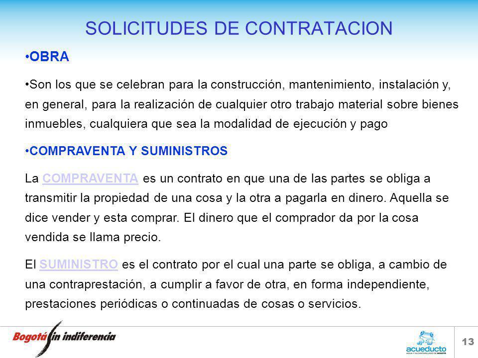12 SOLICITUDES DE CONTRATACION PROCESOS INFERIOR A $ 38.150.000 Cuando el valor del contrato que se pretende celebrar no supere los cien (100) salario