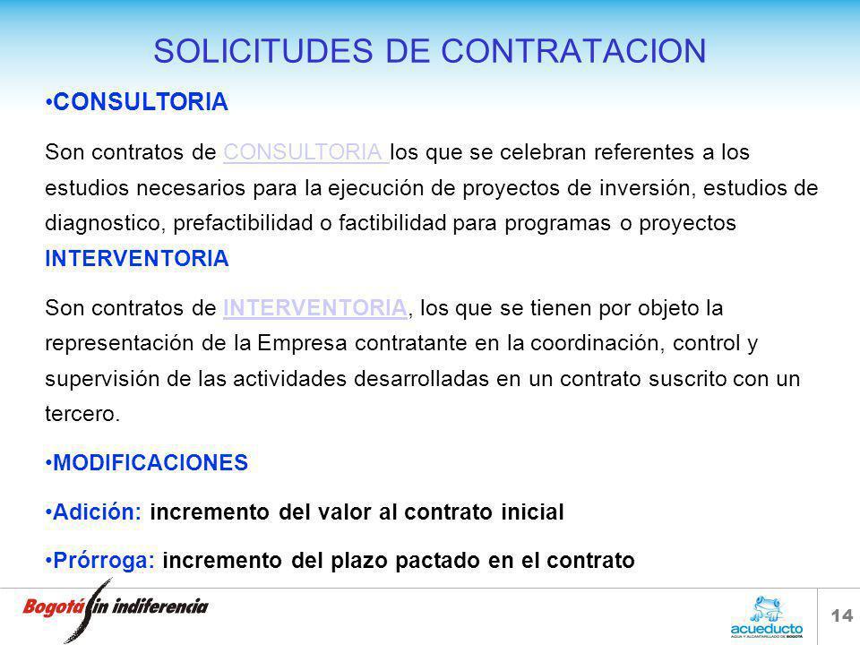 13 SOLICITUDES DE CONTRATACION OBRA Son los que se celebran para la construcción, mantenimiento, instalación y, en general, para la realización de cua