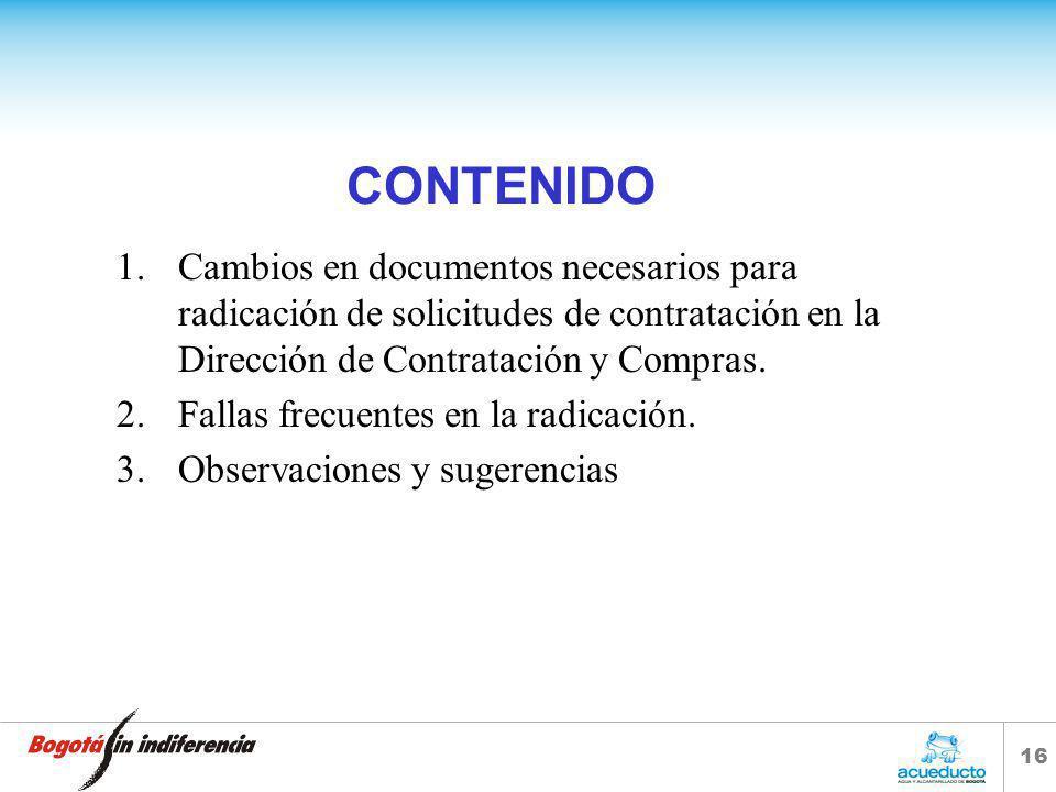 15 DOCUMENTOS NECESARIOS PARA SOLICITUD DE PROCESOS DE CONTRATACIÓN.