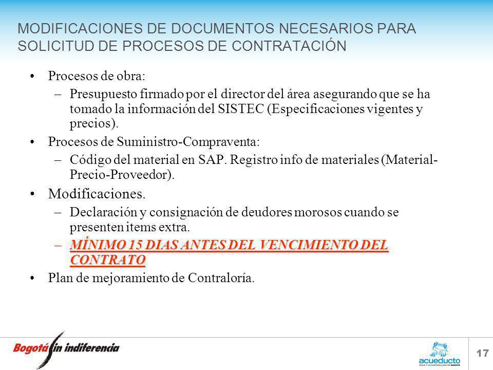 16 CONTENIDO 1.Cambios en documentos necesarios para radicación de solicitudes de contratación en la Dirección de Contratación y Compras. 2.Fallas fre