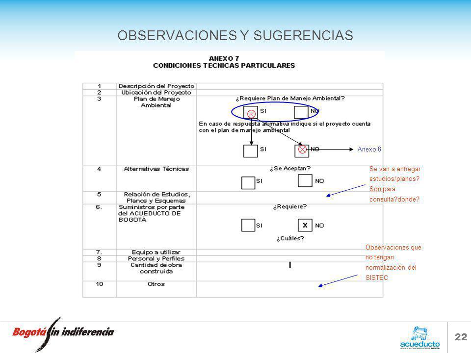 21 OBSERVACIONES Y SUGERENCIAS Sistema para determinar valor del contrato Sistema para determinar presupuesto Forma de pago Precio Global Fijo CON Aju
