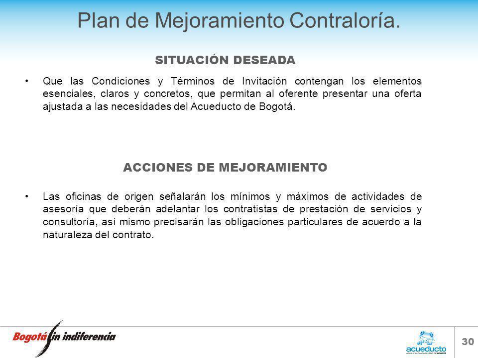 29 Plan de Mejoramiento Contraloría. Que repose en el expediente del contrato los informes mensuales de actividades y demás actas suscritas durante la