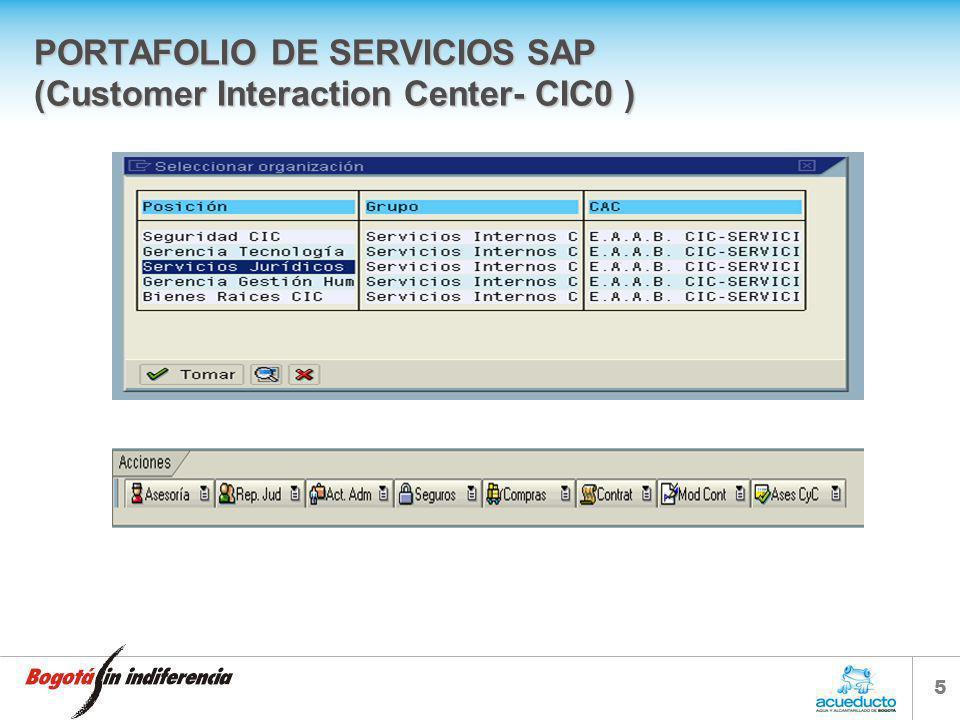 5 PORTAFOLIO DE SERVICIOS SAP (Customer Interaction Center- CIC0 )