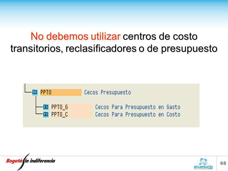 67 VISUALIZACIÓN CENTROS DE COSTO Centro de Costo 7 dígitos Grupos de Centros de Costo 5 dígitos