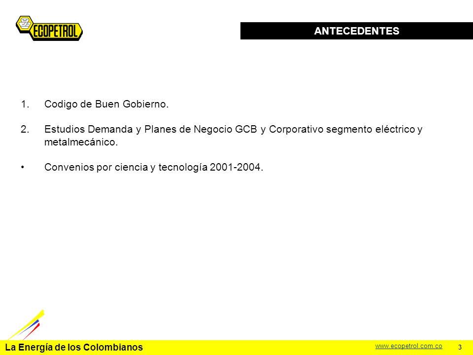 La Energía de los Colombianos www.ecopetrol.com.co TEMATICA Antecedentes Objetivo y alcance del programa a pymes Cronograma y presupuesto del programa Esquema Operativo Conclusiones 2