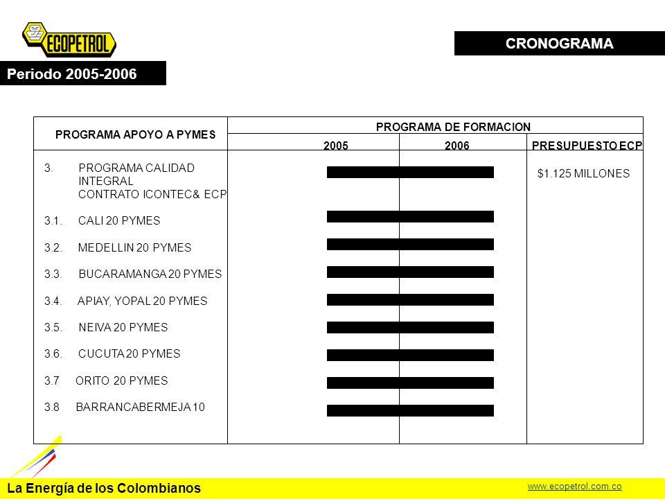 La Energía de los Colombianos www.ecopetrol.com.co CRONOGRAMA Periodo 2005-2006 PROGRAMA APOYO A PYMES PROGRAMA DE FORMACION 20052006 2.