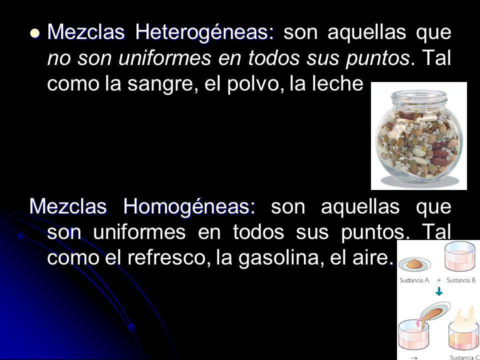 Mezclas Heterogéneas: Mezclas Heterogéneas: son aquellas que no son uniformes en todos sus puntos. Tal como la sangre, el polvo, la leche Mezclas Homo
