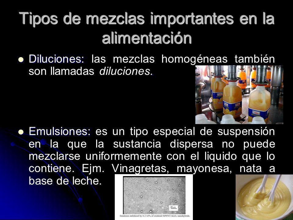 Tipos de mezclas importantes en la alimentación Diluciones:. Diluciones: las mezclas homogéneas también son llamadas diluciones. Emulsiones: Emulsione