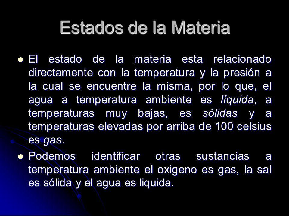 Estados de la Materia El estado de la materia esta relacionado directamente con la temperatura y la presión a la cual se encuentre la misma, por lo qu