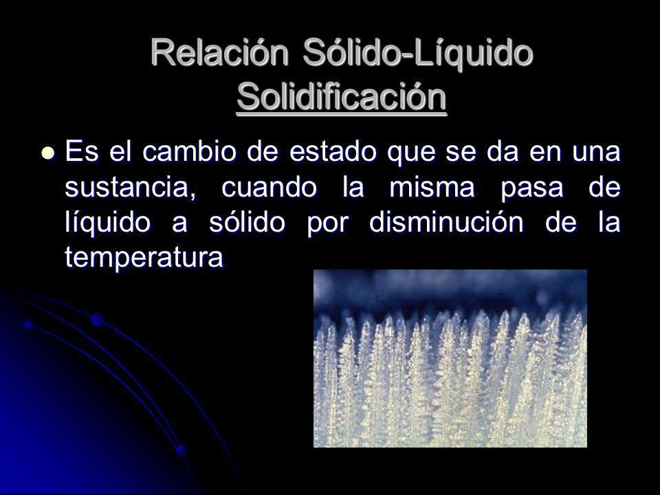Es el cambio de estado que se da en una sustancia, cuando la misma pasa de líquido a sólido por disminución de la temperatura Es el cambio de estado q