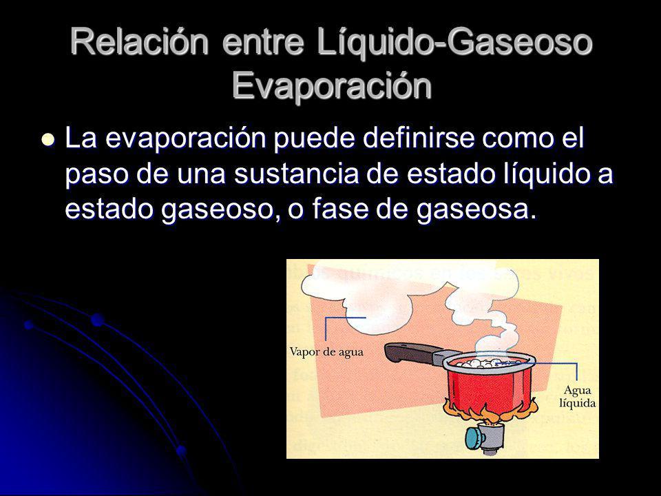 Relación entre Líquido-Gaseoso Evaporación La evaporación puede definirse como el paso de una sustancia de estado líquido a estado gaseoso, o fase de