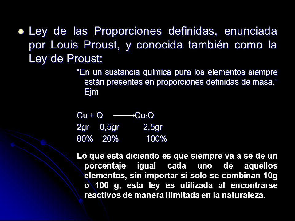 Ley de las Proporciones definidas, enunciada por Louis Proust, y conocida también como la Ley de Proust: Ley de las Proporciones definidas, enunciada