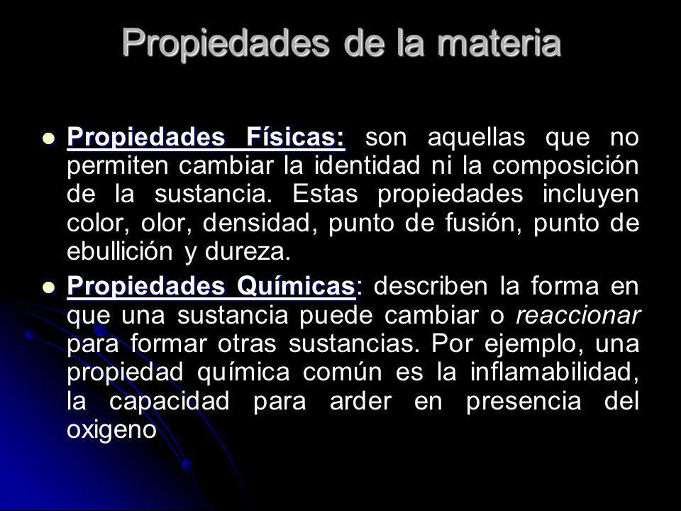 Propiedades de la materia Propiedades Físicas: Propiedades Físicas: son aquellas que no permiten cambiar la identidad ni la composición de la sustanci
