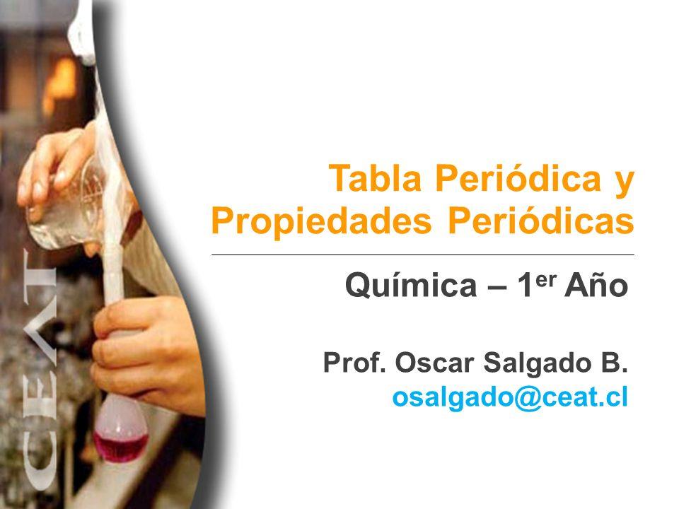 Tabla Periódica y Propiedades Periódicas Química – 1 er Año Prof. Oscar Salgado B. osalgado@ceat.cl