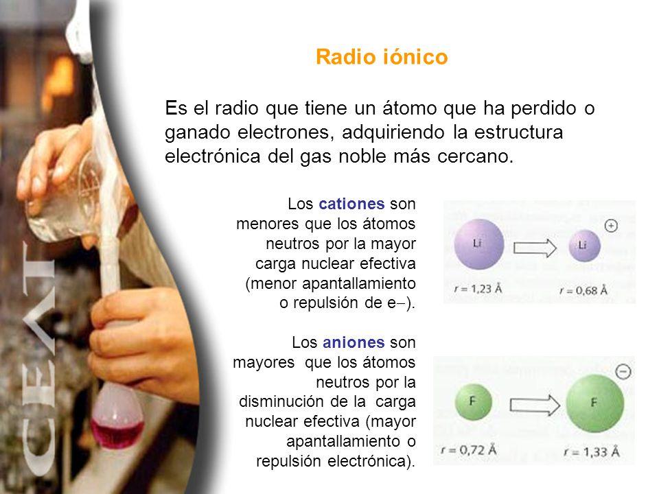 Es el radio que tiene un átomo que ha perdido o ganado electrones, adquiriendo la estructura electrónica del gas noble más cercano. Radio iónico Los c