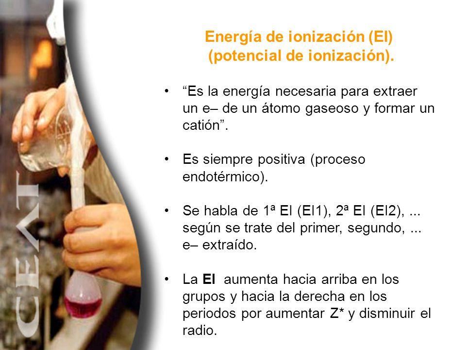 Energía de ionización (EI) (potencial de ionización). Es la energía necesaria para extraer un e– de un átomo gaseoso y formar un catión. Es siempre po
