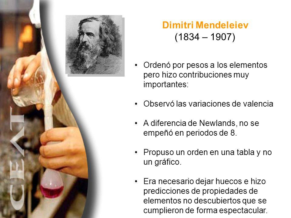 Dimitri Mendeleiev (1834 – 1907) Ordenó por pesos a los elementos pero hizo contribuciones muy importantes: Observó las variaciones de valencia A dife