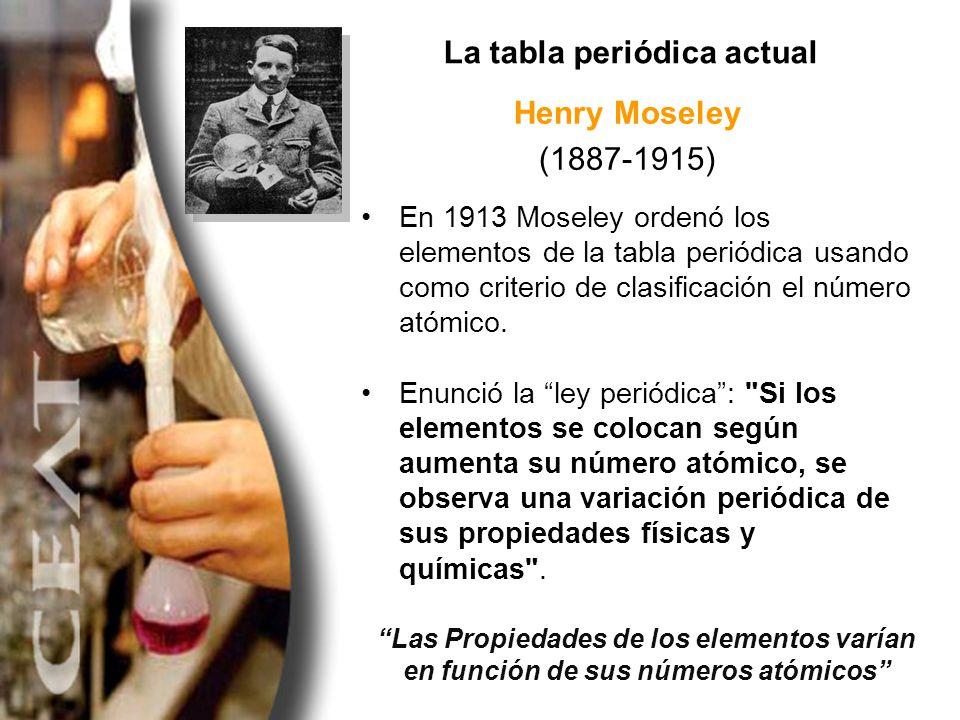 La tabla periódica actual Henry Moseley (1887-1915) En 1913 Moseley ordenó los elementos de la tabla periódica usando como criterio de clasificación e