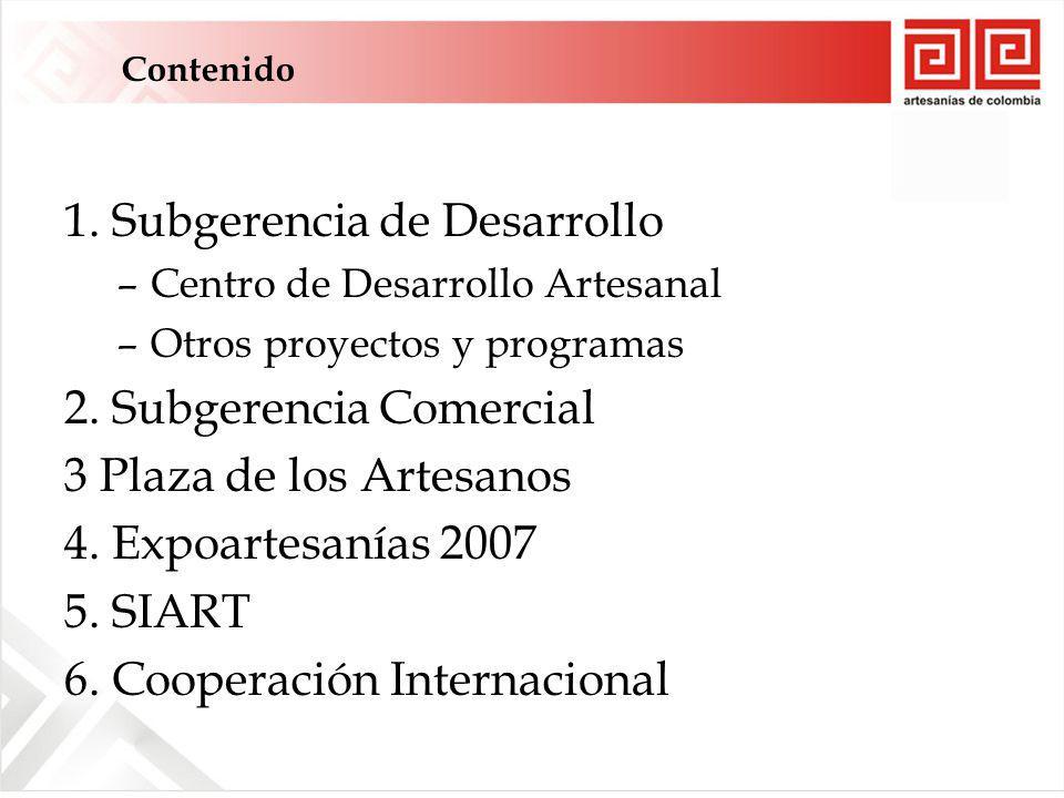 1. Subgerencia de Desarrollo –Centro de Desarrollo Artesanal –Otros proyectos y programas 2.