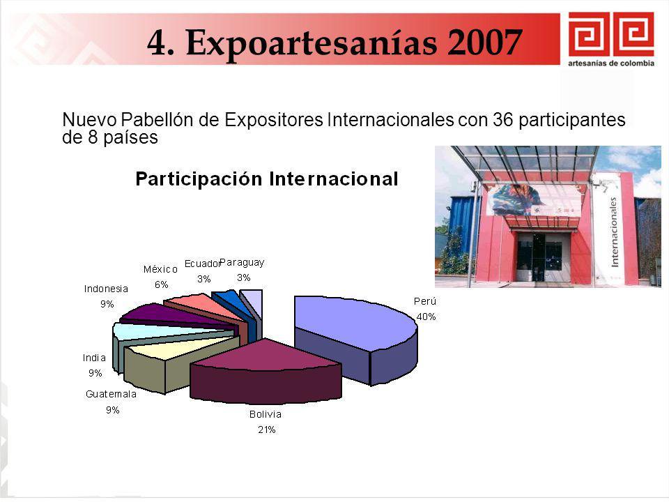 4. Expoartesanías 2007 Nuevo Pabellón de Expositores Internacionales con 36 participantes de 8 países.