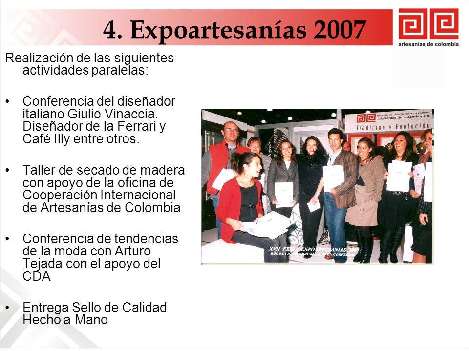 4. Expoartesanías 2007 Realización de las siguientes actividades paralelas: Conferencia del diseñador italiano Giulio Vinaccia. Diseñador de la Ferrar