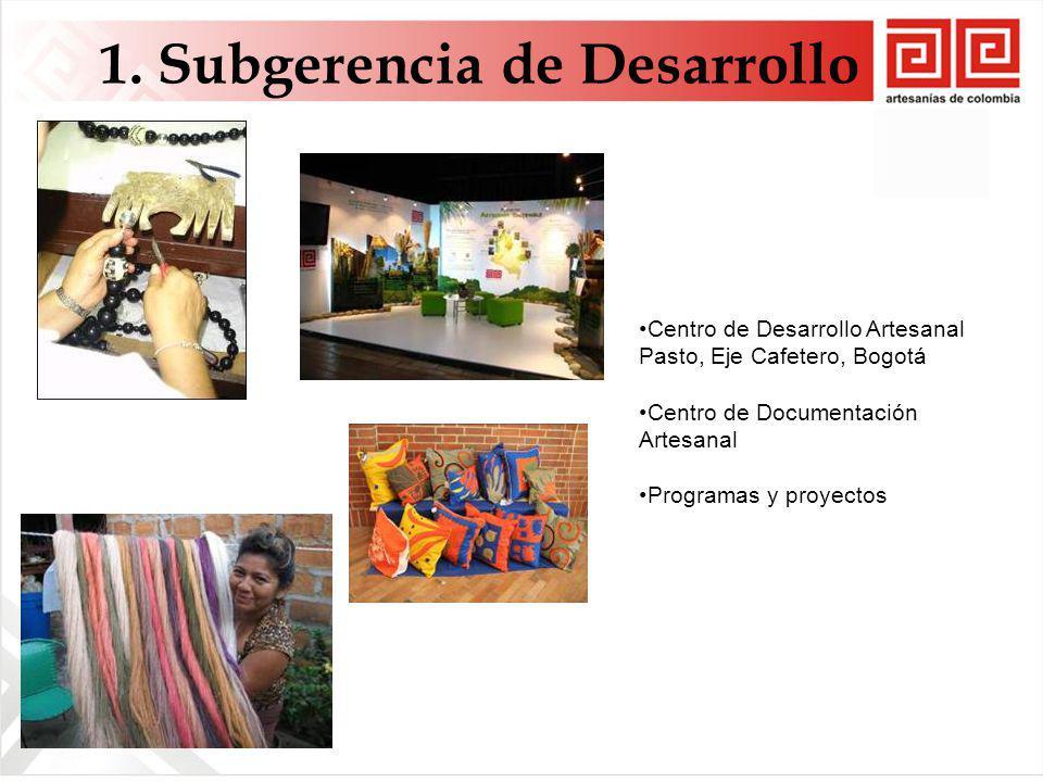 1. Subgerencia de Desarrollo Centro de Desarrollo Artesanal Pasto, Eje Cafetero, Bogotá Centro de Documentación Artesanal Programas y proyectos