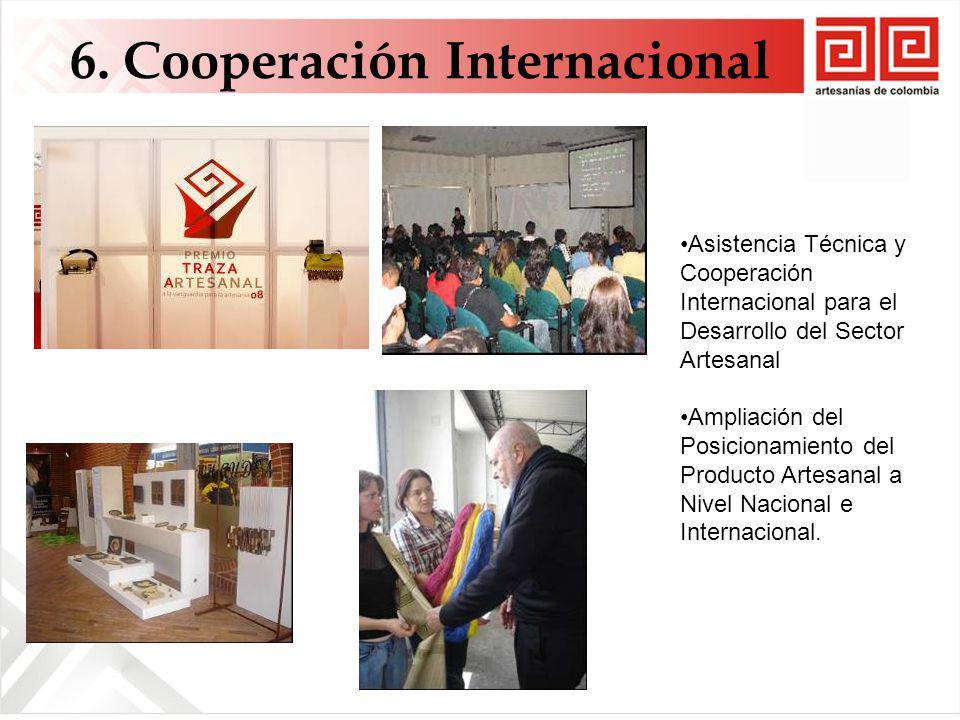 6. Cooperación Internacional Asistencia Técnica y Cooperación Internacional para el Desarrollo del Sector Artesanal Ampliación del Posicionamiento del