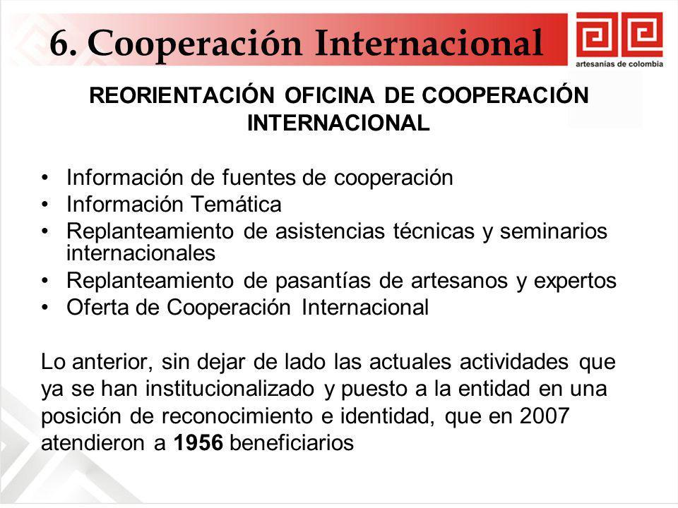 REORIENTACIÓN OFICINA DE COOPERACIÓN INTERNACIONAL Información de fuentes de cooperación Información Temática Replanteamiento de asistencias técnicas