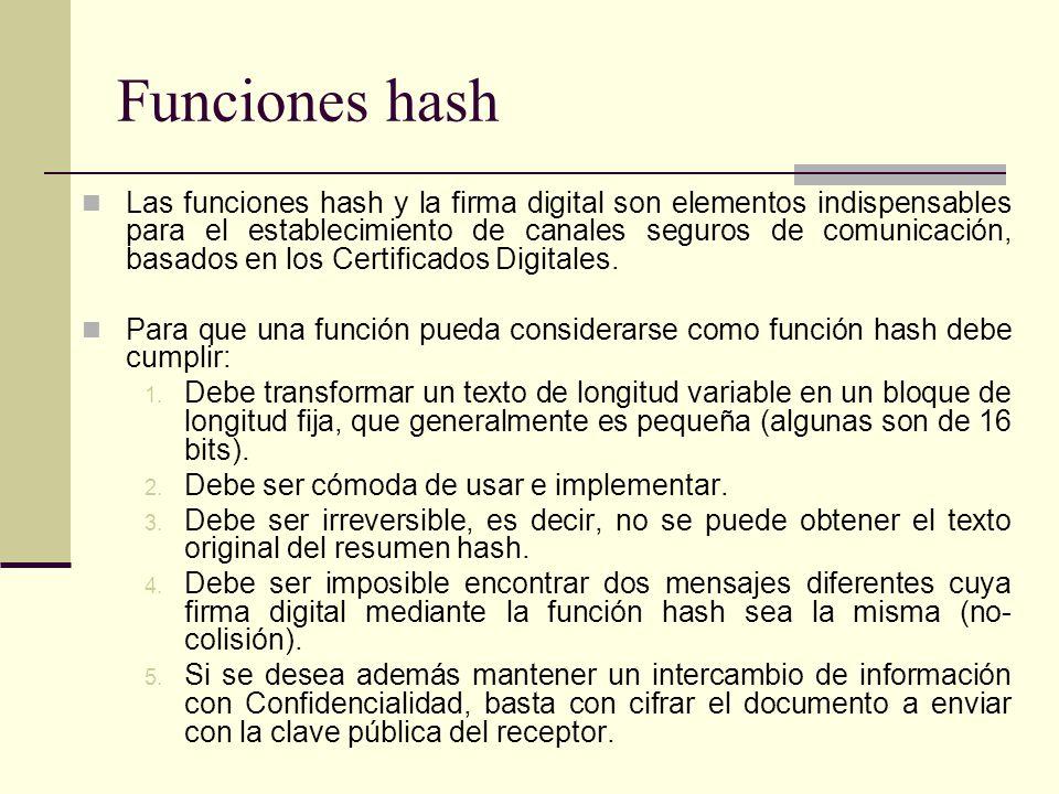 Las funciones hash y la firma digital son elementos indispensables para el establecimiento de canales seguros de comunicación, basados en los Certificados Digitales.
