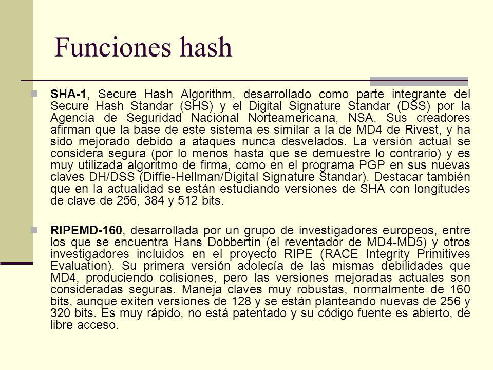 Funciones hash SHA-1, Secure Hash Algorithm, desarrollado como parte integrante del Secure Hash Standar (SHS) y el Digital Signature Standar (DSS) por la Agencia de Seguridad Nacional Norteamericana, NSA.