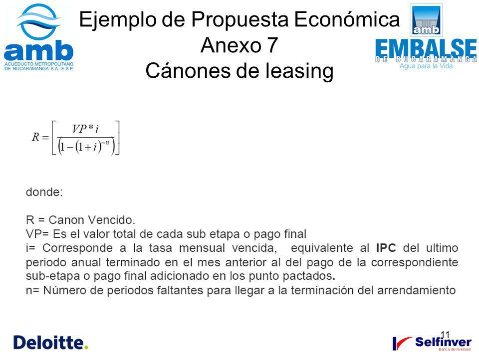 11 Ejemplo de Propuesta Económica Anexo 7 Cánones de leasing