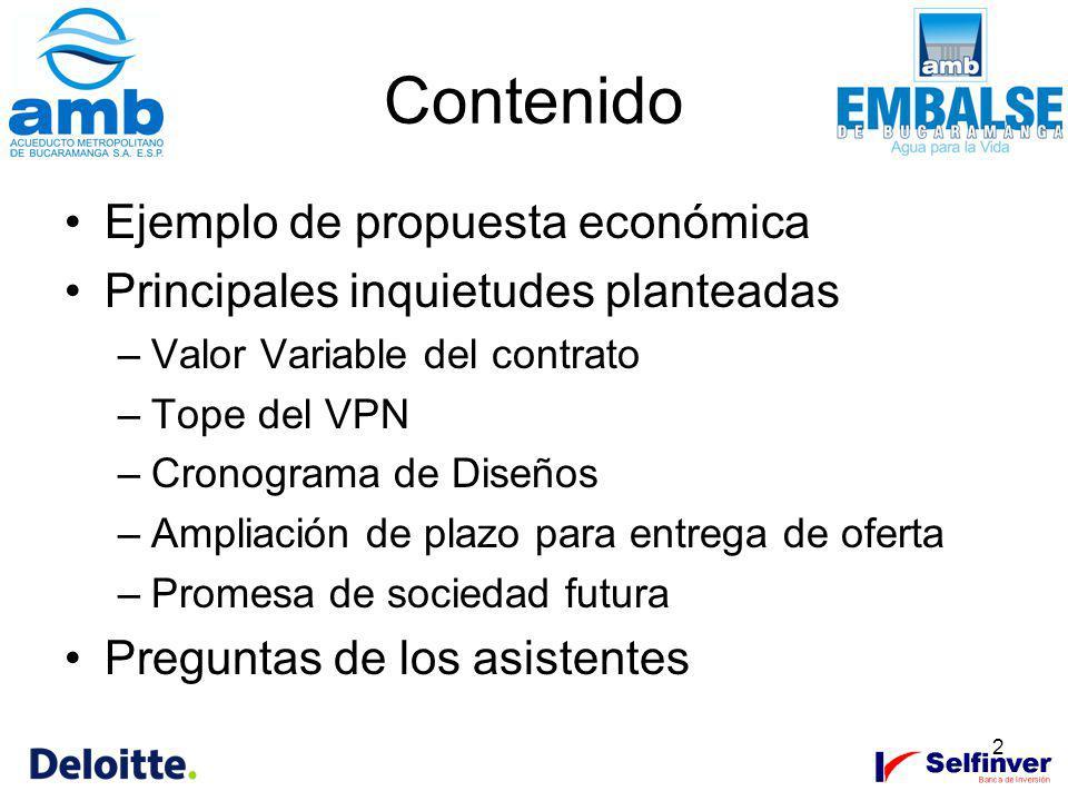 2 Contenido Ejemplo de propuesta económica Principales inquietudes planteadas –Valor Variable del contrato –Tope del VPN –Cronograma de Diseños –Ampli