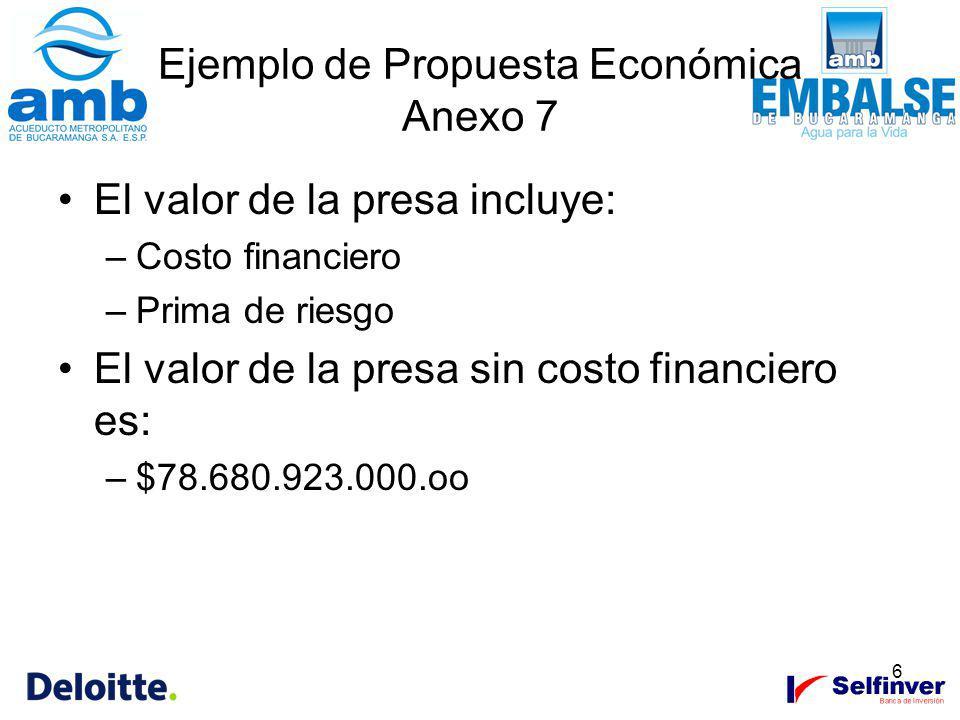 6 Ejemplo de Propuesta Económica Anexo 7 El valor de la presa incluye: –Costo financiero –Prima de riesgo El valor de la presa sin costo financiero es