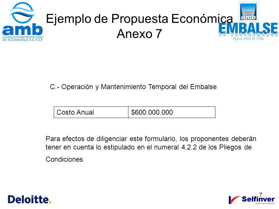 7 Ejemplo de Propuesta Económica Anexo 7 C.- Operación y Mantenimiento Temporal del Embalse Costo Anual$600.000.000 Para efectos de diligenciar este f