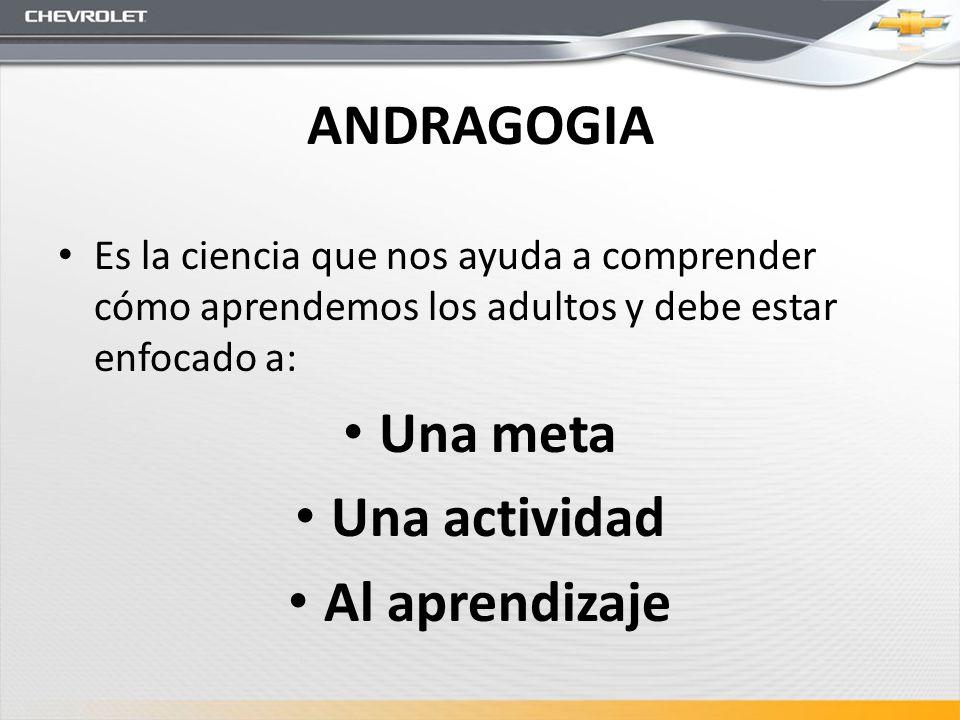 ANDRAGOGIA Es la ciencia que nos ayuda a comprender cómo aprendemos los adultos y debe estar enfocado a: Una meta Una actividad Al aprendizaje