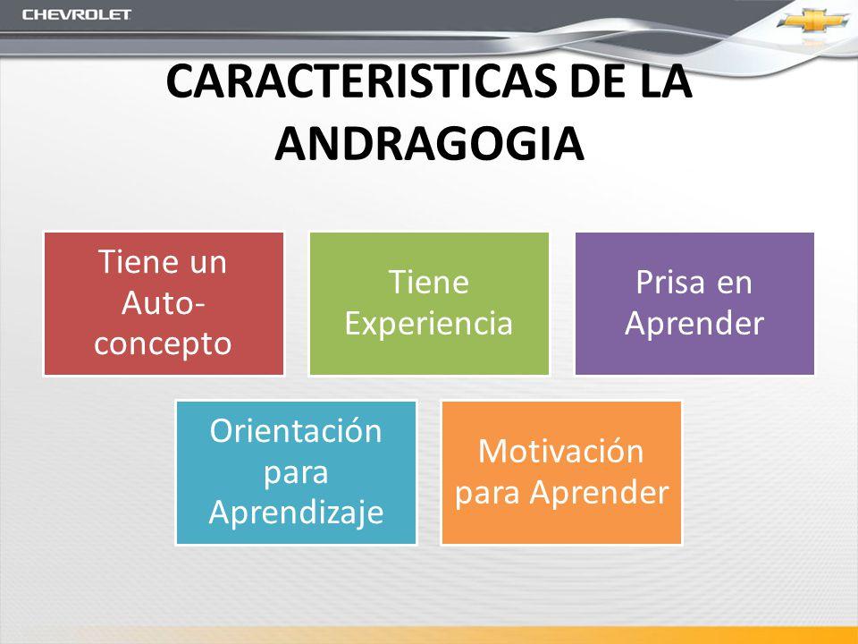 CARACTERISTICAS DE LA ANDRAGOGIA Tiene un Auto- concepto Tiene Experiencia Prisa en Aprender Orientación para Aprendizaje Motivación para Aprender
